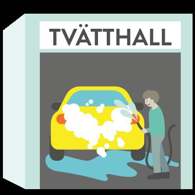 Tvatta bilen med varmt regnvatten